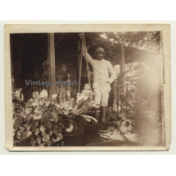 Congo-Belge: Colonialist Proudly Swings His Baby On Porch...
