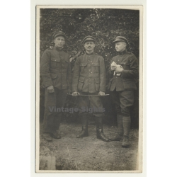 3 Belgian Uniformed Soldiers With Kitten / Cat (Vintage RPPC...