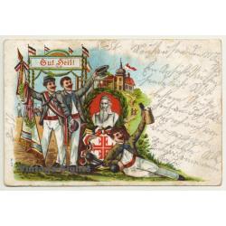 Gut Heil! Fencing - Pommel Horse - Beer Mug (Vintage Postcard...