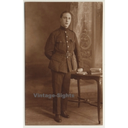 Smart Young Belgian Soldier In Uniform (Vintage RPPC Sepia...