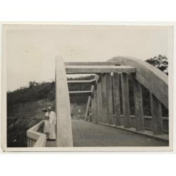 Congo-Belge: Colonial Couple On New Built Bridge (Vintage...