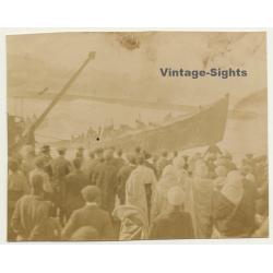 Casablanca / Morocco: Landing Of A Boat - Spectators (Vintage...