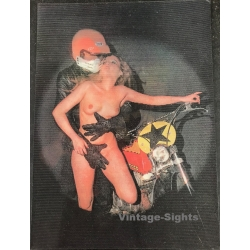 Biker & Nude Blonde Pin-Up / Bultaco (Vintage 3D Stereo Effect...