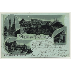 Germany: Gruss Aus Nürnberg / Moonlight (Vintage PC Litho 1898)