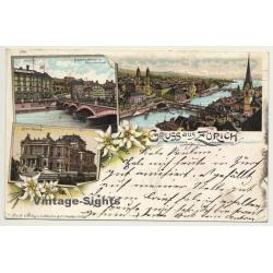 Switzerland: Gruss Aus Zürich / Bahnhofs-Brücke (Vintage PC...