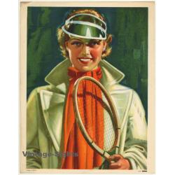 Elegant Female Tennis Player (Vintage Print Belgium...
