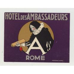 Hotel Des Ambassadeurs / Rome - Italy (Vintage Luggage Label: Richter)