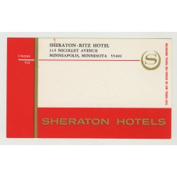 Sheraton - Ritz Hotel - Minneapolis / USA (Vintage Postal Label)