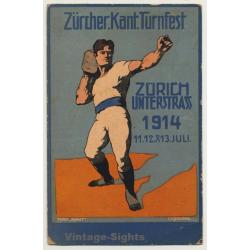 Zürcher Kantonal-Turnfest 1914 / Kraft (Vintage Artist PC...