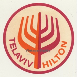Tel Aviv / Israel: Hotel Hilton (Vintage Luggage Label ~ 1950s)