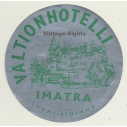 Imatra / Finland: Valtionhotelli (Vintage Luggage Label)