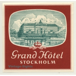 Stockholm / Sweden: Grand Hotel (Vintage Luggage Label)