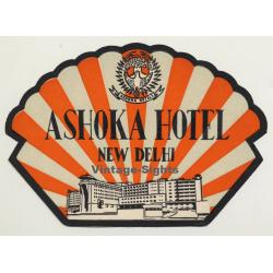 New Delhi / India: Ashoka Hotel (Vintage Luggage Label)