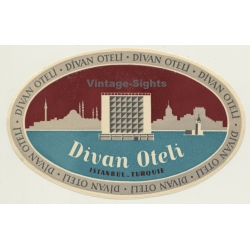 Istanbul / Turkey: Divan Oteli - Hotel (Vintage Luggage Label)
