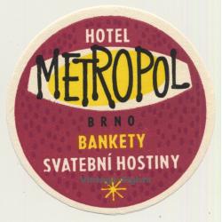 Brno / Czech Republic: Hotel Metropol (Vintage Luggage Label)