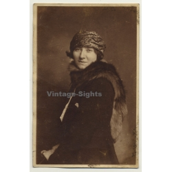 Classy Young Woman With Turban & Fox Stole (Vintage RPPC ~...