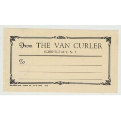 Hotel The Van Curler - New York / USA (Vintage Postal/Luggage Label)