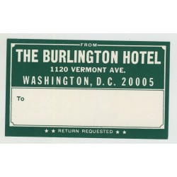 Hotel The Burlington Hotel / USA (Vintage Postal/Luggage Label)