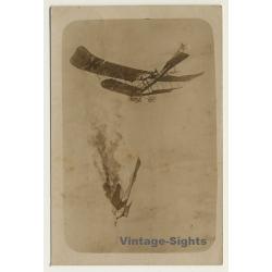 WW1: German Aircraft - Dogfight - Hit - Crash (Vintage RPPC...