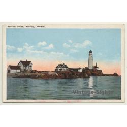 Boston Harbor / USA: Boston Light - Lighthouse (Vintage Postcard)