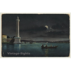 Unidentified Lighthouse - Full Moon - Rowboat (Vintage Postcard)