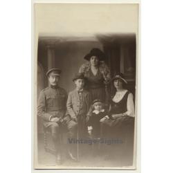 Portrait Of Belgian Upper Society Family / Officer (Vintage...