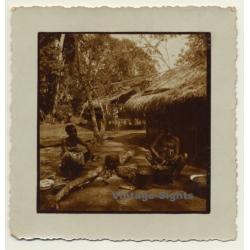 Congo Belge: Native Women Cook In Front Of Straw Hut (Vintage...