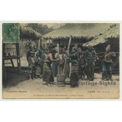 Laos / Indochina: Pilage Du Riz - Khas Kouènes - Pilon à Main...