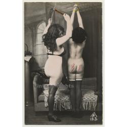 Mistress Whips Nude / Biederer - Hand Tinted - BDSM (Vintage...