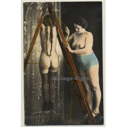 Domina Fixes Nude Female To Ladder / Biederer? - Hand Tinted -...