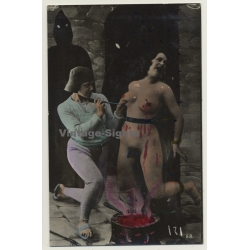 Nude Woman In Dungeon *4 / Hooded Men - BDSM (Hand Tinted RPPC...
