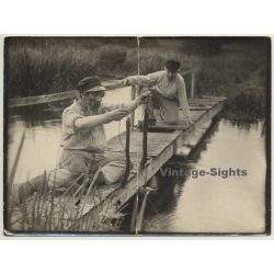 2 Older Japanese Guys Fish Eels / Jetty (Vintage Photo ~1920s)