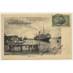 Boma / Congo Belge: Steamship At Landing Bridge / River...