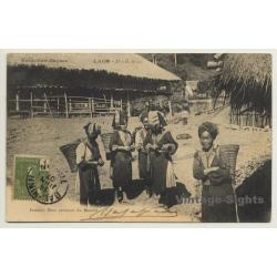 Laos: Femmes Méos Revenant Du Marché (Vintage PC 1907 Ethno)