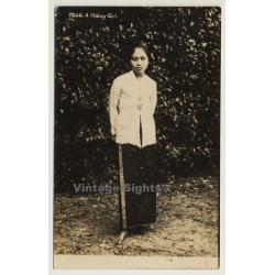 Malaysia: Portrait Of A Malay Girl / Ethno (Vintage RPPC)