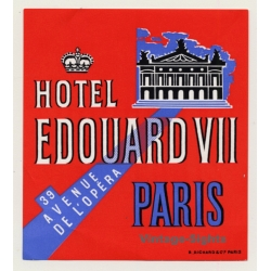 Paris / France: Hotel Edouard VII (Vintage Luggage Label)