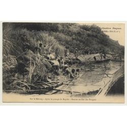 Laos / Indochine: Sur Le Mékong - Pirogues (Vintage PC 1906...