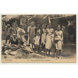 Indochine: Famille Moïs Dans Leur Campement (Vintage PC...
