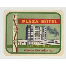 Plaza Hotel - San Paulo / Brazil (Vintage Luggage Label)