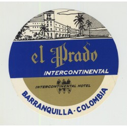 Hotel El Prado Intercontinental - Barranquilla / Colombia (Vintage Luggage Label)
