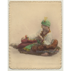 Belgian Woman In Exotic Outfit / Turban - Hand Tinted...