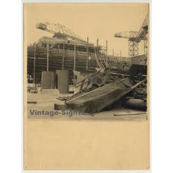Antwerp: Freighter In Shipyard - Dock / Cranes (Vintage Photo...