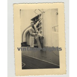 Stylish Good Looking Man On Board Of Ship  (Vintage Photo Gay Int)