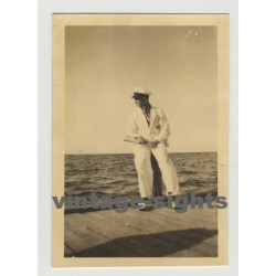 Pretty Guy In White Marine Suit / Landing Stage (Vintage Photo 40s/50s Gay Int)