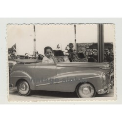 Manolita In Carousel Car / Fira Del Ram - Palma de Mallorca 1952 (Vintage Photo)