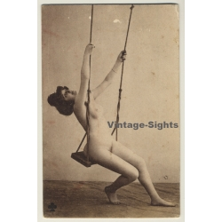 Slim French Nude On Swing / Boudoir (Vintage PC ~1910s)