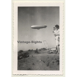 Port Lyautey / Morocco: U.S.Navy Airship Over Mother & Baby...