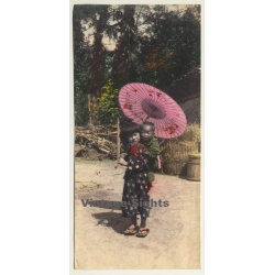 Japan: Little Girl Carries Baby Brother / Geta 下駄 - Wagasa 和傘...