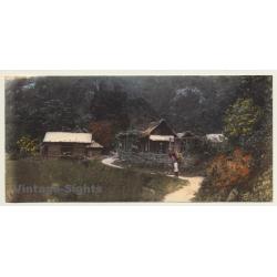 Japan: Wanderer In Front Of Wooden Huts / Rucksack (Vintage...