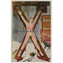 Nude Woman In Dungeon *4 / Cross Rack - BDSM (Hand Tinted RPPC...